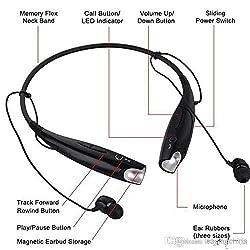 AEMA(TM) HBS-730 Bluetooth Stereo Headset HBS 730 Wireless Bluetooth Mobile Phone Headphone Earpod Sport Earphone with call functions (Black) Bluetooth Headsets