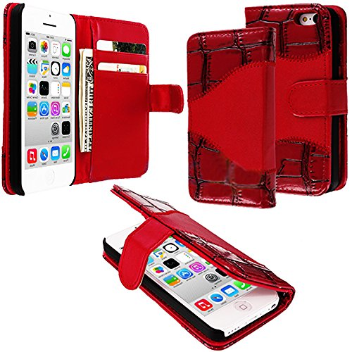 Mylife (Tm) Volcano Fire Red {Crocodile Design} Faux Leather (Card, Cash And Id Holder + Magnetic Closing + Hand Strap) Slim Wallet For The Iphone 5C Smartphone By Apple (External Textured Synthetic Leather With Magnetic Clip + Internal Secure Snap In Har