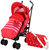 Zeta Vooom Stroller Complete with Foot Muff/ Raincover/ Changing Bag and Head Hugger Bow Dots Design