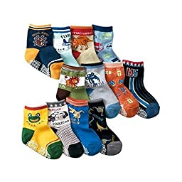 Ruiting Color Random Mix Baby Boys Animal Print Toddler Anti Slip Skid Socks Age 0-3 Years