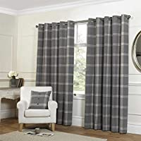 """Tartan Check Grey 90x72"""" 229x183cm Lined Wool Look & Feel Ring Top Curtains Drapes from Curtains"""