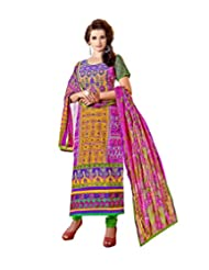 Prafful Yellow And Magenta Beautiful Cotton Printed Embroidery Unstitched Salwar Suit