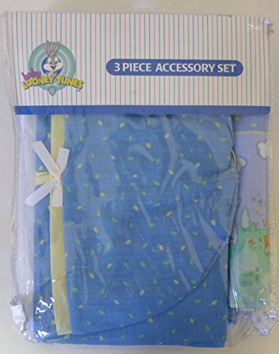 Baby Looney Tunes 3 Piece Playday Accessory Set - Crib Skirt, Flannel Receiving Blanket, Diaper Stacker - 1