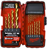Milwaukee 48-89-1105 1/16-to-1/2-Inch Titanium-Coated Twist Drill Bit Assortment in Plastic Index, 20-Piece