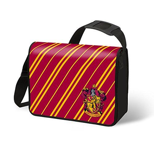 Harry Potter - Borsa messenger di Grifondoro con logo - Borsa di Hogwarts con licenza ufficiale - Copertone - Misure 38 x 29 x 11 cm