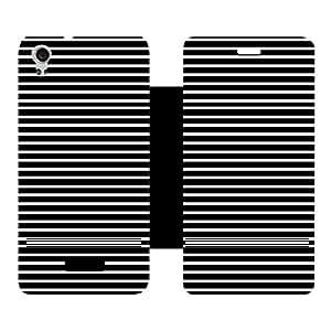 Skintice Designer Flip Cover with Vinyl wrap-around for Lava Iris X9, Design - White stripe