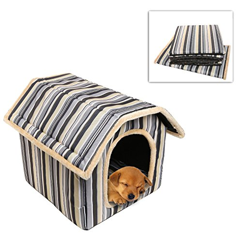 Soft sided multicolored striped indoor small dog cat for Soft indoor dog house large