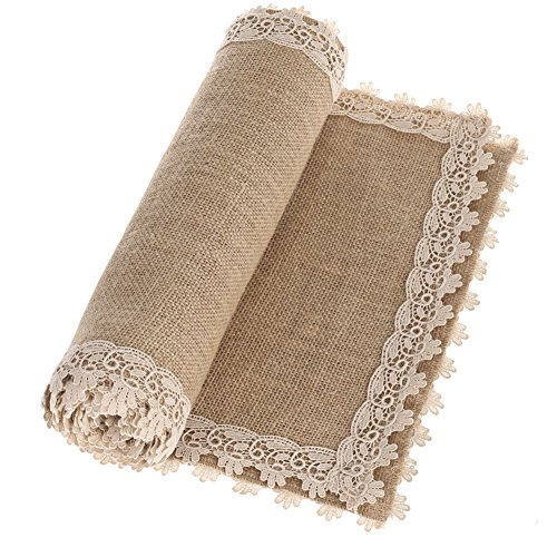 Ling's moment Burlap Cream Lace Hessian Table Runner for Vintage Wedding, Christmas Xmas centerpiece Bridal & Baby Shower Kitchen Decor, Winter Decoration Black Friday 6FT
