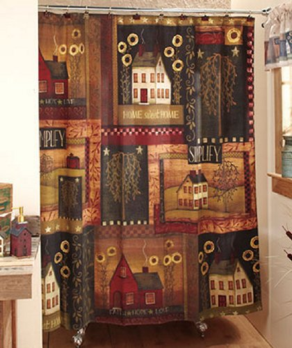 17 Pc Set Primitive Country Fabric Shower Curtain Charm Salt