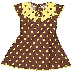 Rush Me Baby Girls' Dress (S.R.1010_6 Years, 6 Years, Brown)