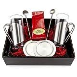 Geschenk Set Kirschtee mit je 2 Teegläsern, Untersetzern und Trinkhalmlöffeln