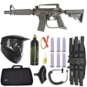US Army Alpha Black Tactical Paintball Marker Gun 3Skull Sniper Set - Camo