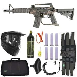 US Army Alpha Black Tactical Paintball Marker Gun 3Skull Sniper Set - Camo
