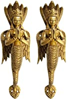 A Pair of Naga-Kanya Door Handles - An Auspicious and Protective Welcome - Brass Statue from Exotic India