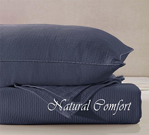 Natural Comfort Matelassé Blanket Coverlet, King, Quilted Silhouette/Purple Gray front-932766