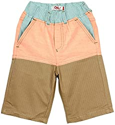 Oye Boys Knee Length Shorts - Beige/Orange (4-5 Y)