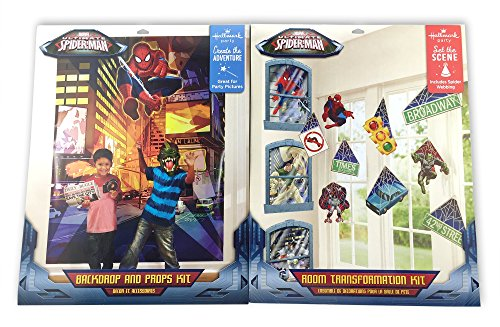 2 KITS: Spider-Man Room Transformation Kit AND Photo Backdrop and Props Kit
