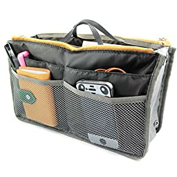 kilofly Purse Insert Organizer, Expandable, Grey, with Handles