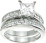Princess Cut Wedding and Engagement Ring Set in Sterling Silver (size 6)