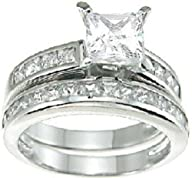 Princess Cut Wedding and Engagement Ring Set Sterling Silver