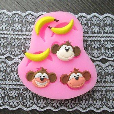 FPP singe banane cuire gâteau fondant au moule, l7.4cm * w6.2m * h1.2cm