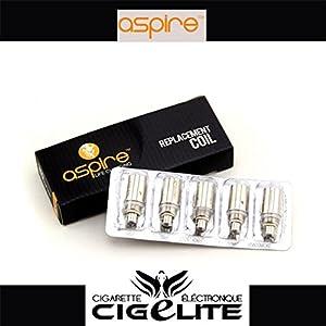 Cigelite : Lot de 5 résistances BDC 1,8 Ohms pour clearomiseur Aspire BDC - sans nicotine ni tabac