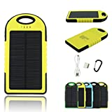 Solar Charger -Bon Venu 5 Solar Panel 5000mah Portable Backup Power Bank Pack Water/ Shock/ Dust Resistant Dual USB Charger 5000mah Solar Battery Panel Dual USB Port Rain-resistant, Dirtproof and Shockproof Portable Charger Backup External Battery Pack Power Bank for Iphone 6, 6 Plus, 5s, 5c, 4s, 4, Ipod Touch, Ipad Mini,ipad 1,2,3,4,5,6,ipad Air Retina (Apple Lightning Adapter Included), Samsung Galaxy Note 2, Note 3, S2 S3, S4, S5,nexus 4/5/7,moto X, Lg G2/3,sony Xperia Z1 Black, Nokia Lumia 1520, Nokia Lumia 1020 4g,note Pro, Amazon Kindle Fire HDX 7/8.9 Tablet, Google Nexus Tablet 7,blackberry Z10, Sony Xperia Z, Motorola Droid Maxx, HTC One Mini, Droid Dna,most Android/windows Smart Cell Phones, Gps, Tablets, and Other Usb-charged Devices (Yellow)