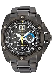 Seiko Men's Velatura Big Date Black IP Bracelet Watch - SPC073P1