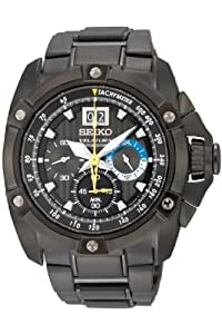 Seiko Men's Velatura Big Date Black IP Bracelet Watch - SPC073P1