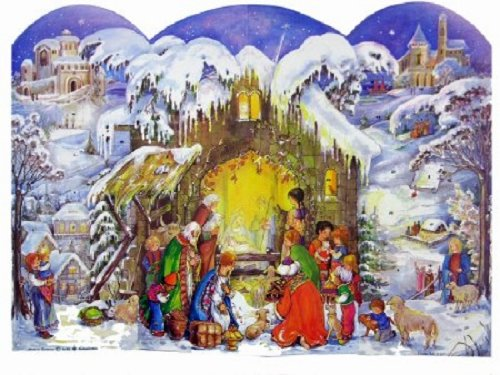 Winter-Weihnachtskrippe deutsche Adventskalender-5PACK