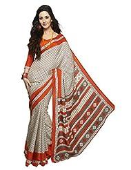 Inddus Exclusive Women Bhagal Puri Silk Printed Beige Saree