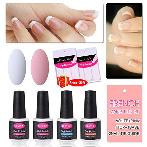 French Manicure Kit Nail Gel Polish Top Coat and Base Coat Pink White Nail Lacquers DIY Nail Art at Home Free Nail Sticker Halloween Gift Set by CLAVUZ (French Manicure Nail Polish Set compare prices)
