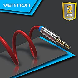 Vention Premium 3.5mm Male to Male Audio Cable (6ft / 1.5m) Gold Plated AUX Cable for Headphones, iPods, iPhones, iPads, Home / Car Stereos and More (Red)
