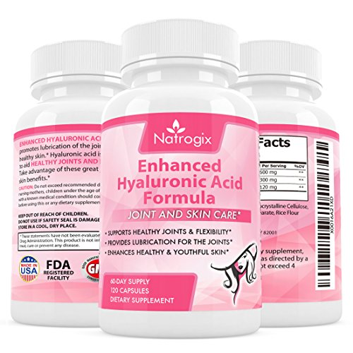 Natrogix Hyaluronic Acid 120 mg / serving - 120 VCaps ( 60 Days Supply), with Chrondroitin Sulfate and Collagen Type II, Support Healthy Joints and Youthful Skin (Biocell Collagen Type Ii compare prices)