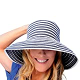 Upturn Universal Ladies Sun / Beach Hat (Navy & White) ~ Kooringal