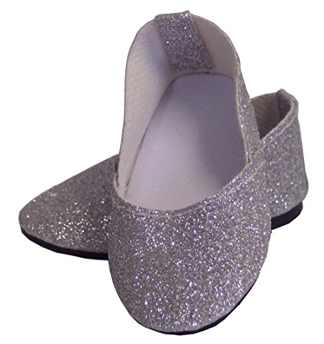"Doll Shoes Silver Sparkle Princess Shoes Made for 18"" American Girl Doll Clothes"