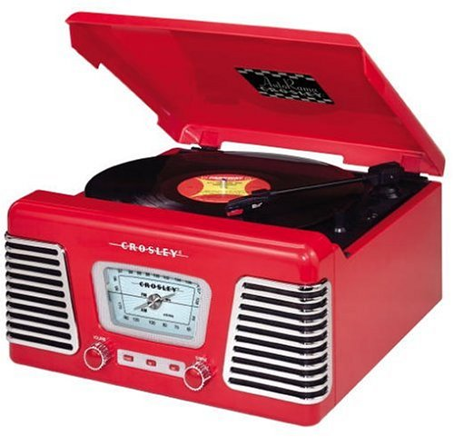 Crosley CR711 Autorama Turntable with AM/FM Radio, Red