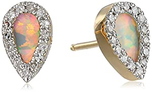 Adina Reyter Opal Diamond Teardrop Posts 14k Yellow Gold Stud Earrings