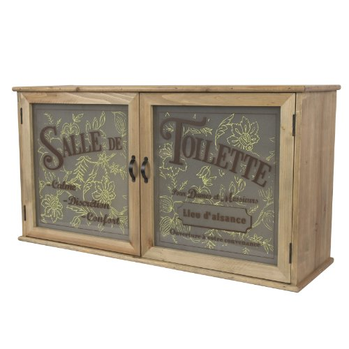 French Style Large Wooden, Glass Bathroom Storage Cabinet 'Salle de Toilette' W65cm x H34cm x D19cm