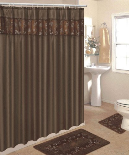 4 piece bathroom rug set 3 piece chocolate ring bath rugs for Matching bathroom accessories sets