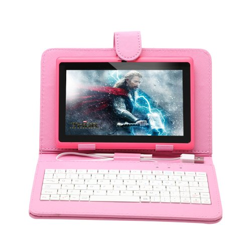 iRulu 7 inch Android Tablet PC With Keyboard Proves,4.2 Jelly Bean OS, Dual Core, Allwinner A23 CPU, Dual Cameras, 5 Point Capacitive Touch Screen, 8GB Storage,Pink Tablet & Pink Keyboard Chest