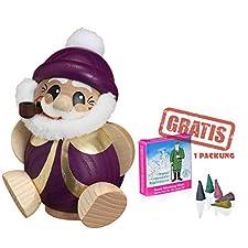 Seiffen folklore bala Ahumado personaje Papá Noel púrpura-Gold, 11 cm de alto. 19184. Incluye 1er paquete incluye soportes para velas de incienso minis