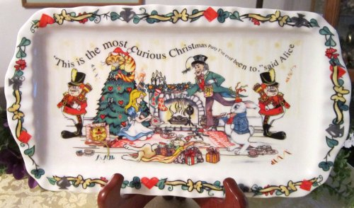 Paul Cardew Alice's Christmas Party Rectangular Cookie Tray Plate, 12 by 6 Inch