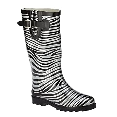 Product Image Women's Zebra Rain Boots - Black/ Silver