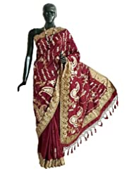 Maroon Dupion Silk Saree with All-Over Sequin qnd Zari Embroidery - Silk