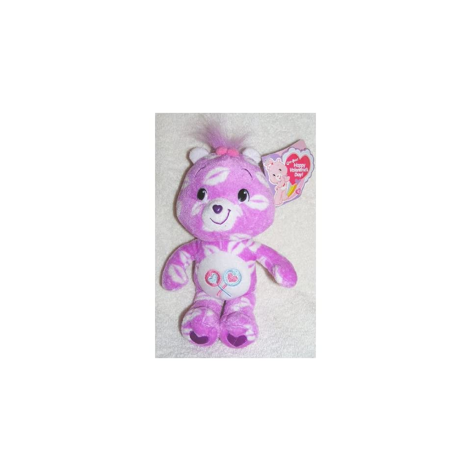 2007 The New Care Bears   Plush 8 Valentines Day Kisses Share Bear Bean Bag Doll