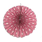 PrettyurParty Light Pink Polka Dots Paper Fans