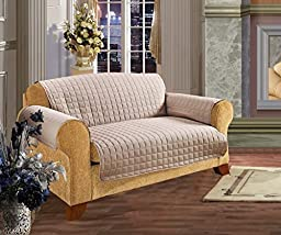 Elegance Linen Quilted Slip Cover for Love Seat,88-Inch by 75.5-Inch, Natural