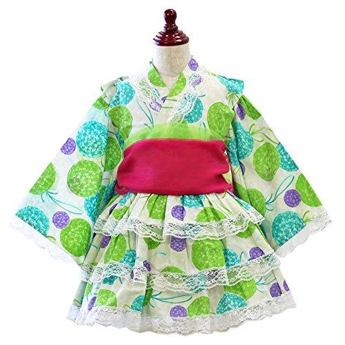浴衣ドレス 922723 子供 女の子 セット 紫陽花柄 レトロ グリーン 緑 可愛い ベビー キッズ 帯付き ゆかた ドレス セパレート [リトルプリンセス] Little Princess コサージュ無 110cm
