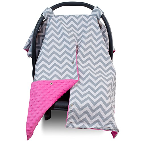 Premium Carseat Canopy Cover / Nursing Cover- Large Chevron Pattern w/ Hot Pink Minky | Best Infant Car Seat Canopy for Girls | Cool/ Warm Weather Car Seat Cover | Baby Shower Gift 4 Breastfeeding Mom (Graco Car Seat Handle Cover compare prices)